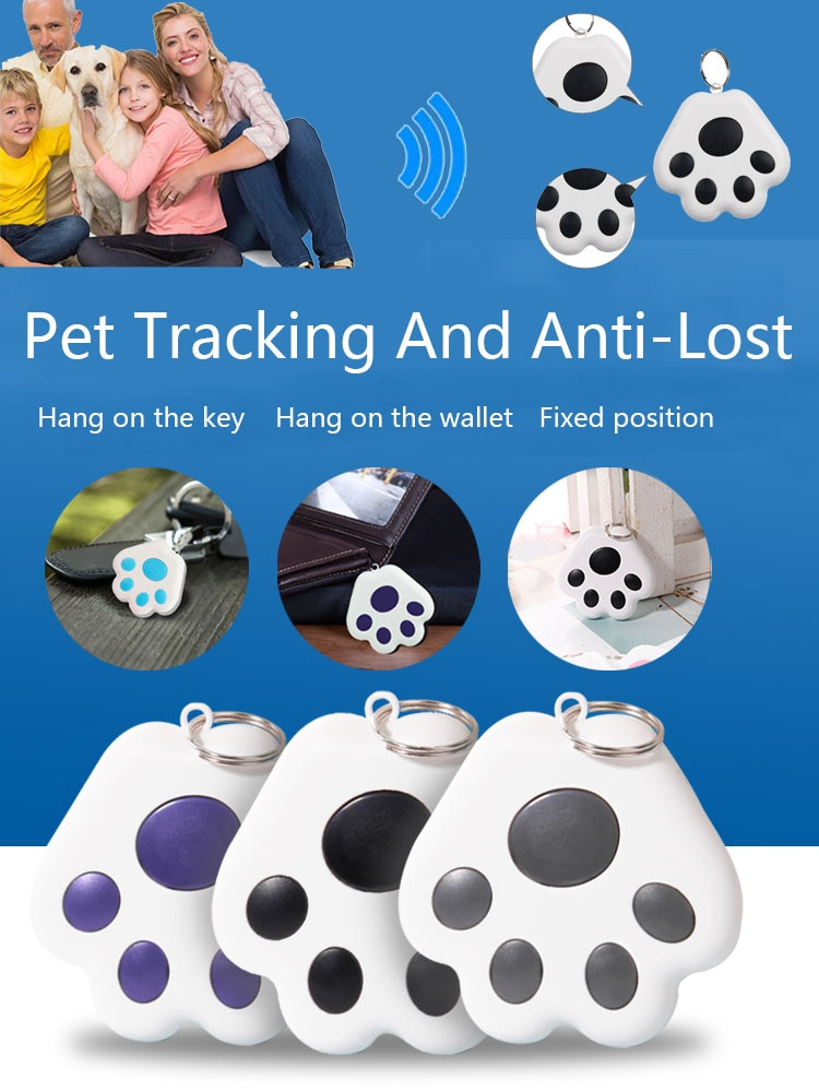 GPS-трекер для домашних животных, водонепроницаемый мини-брелок с Bluetooth, защита от потери, для Мобильный телефон собак, кошек, детей