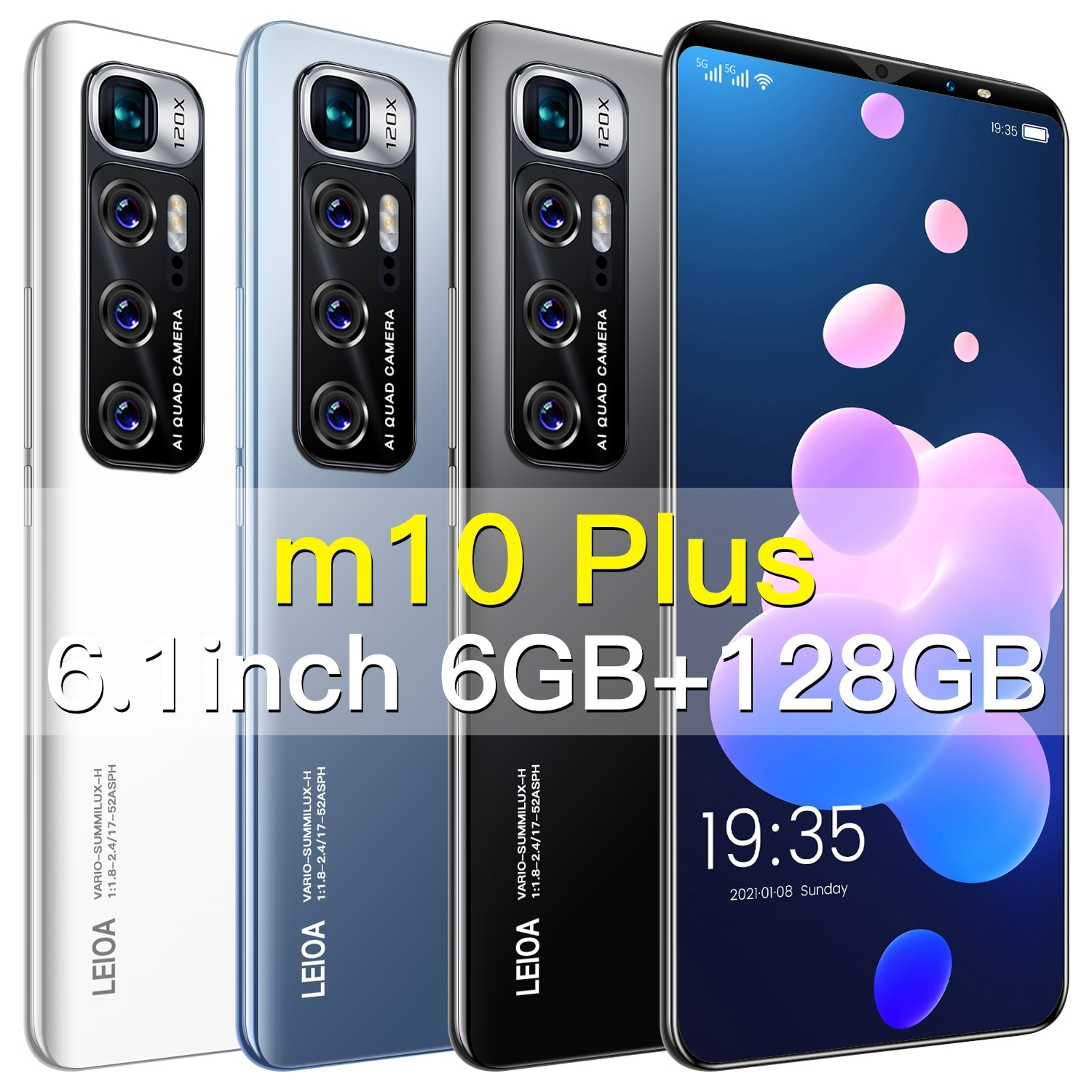 M10 Plus 5.8 Inch Sim Double + Micro Sd 24 48mp 4g 5g Network Mtk6793 Mobile Phones Global Version Andriod Smart Phone 6 + 128gb