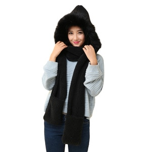 Cute Plush Hooded Scarf Hat Pocket Gloves 3 in 1 Warm for Women Winter Outdoor -MX8