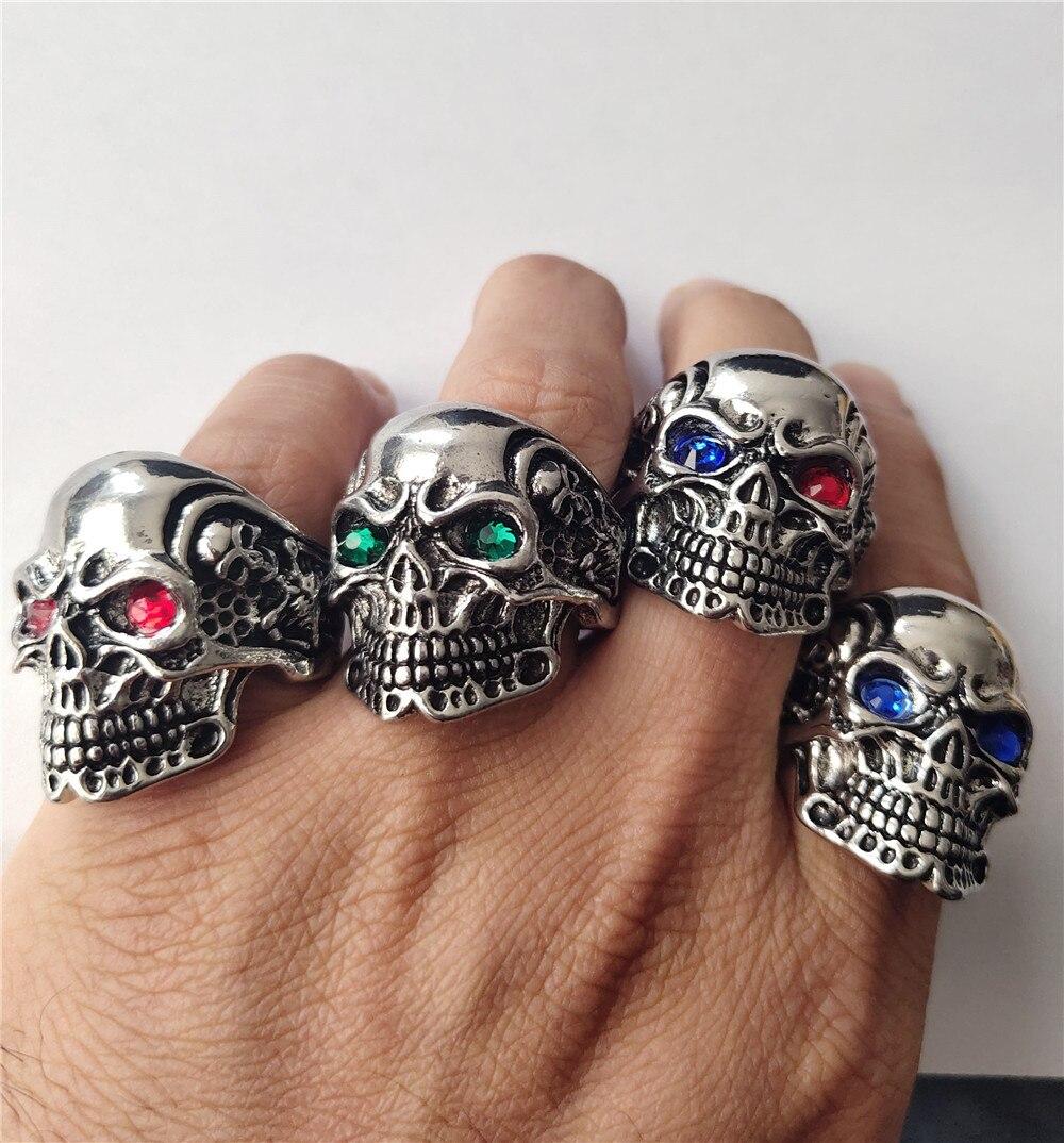 Anillo gótico calavera Punk Biker Rider rojo/azul para hombre, anillo Vintage de esqueleto grande, anillo de dedo, joyería para hombre