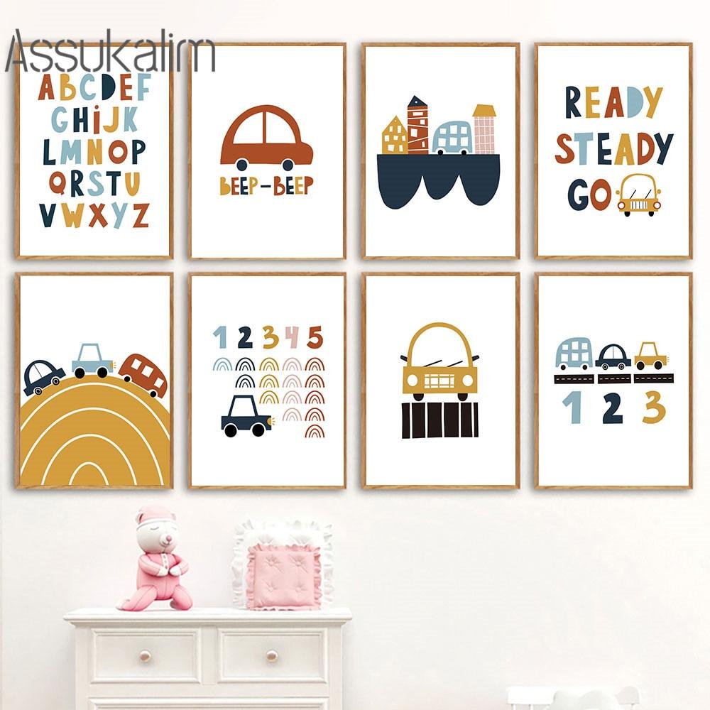 Cartel de juguete ABC para niños, arte de pared, pintura en lienzo,...