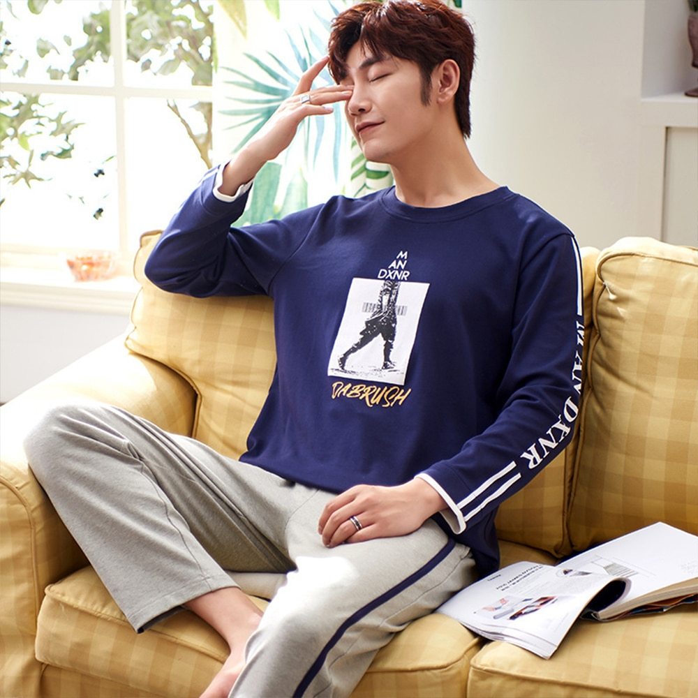 Спорт повседневный мужской% 27 пижама комплекты хлопок стрейч пижама одежда для сна костюм буквы принт длинный рукав пижама +% 2B резинка брюки дом одежда