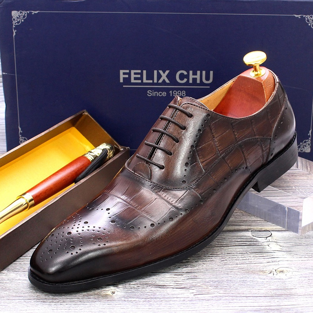 Size 38 To 47 Luxury Mens Dress Oxford Shoes Genuine Leather Crocodile Pattern Lace Up Dark Brown Business Brogue Shoes for Men