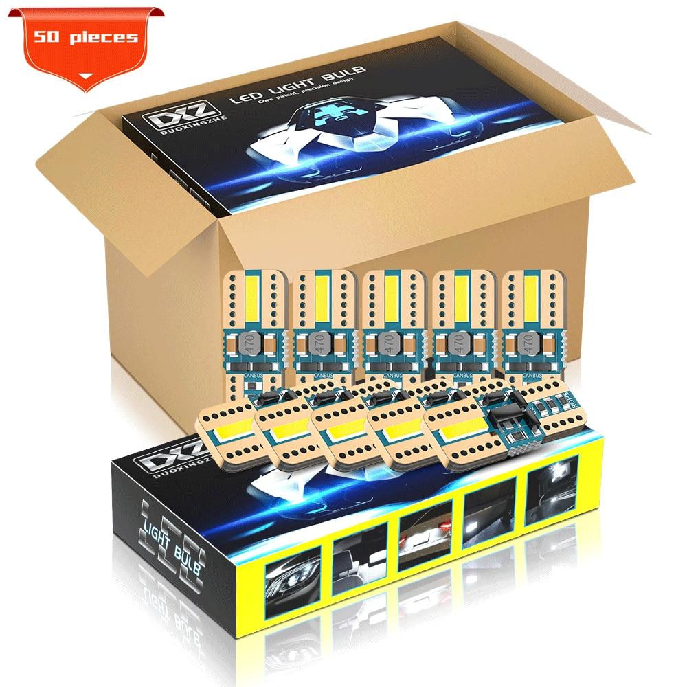 Светодиодные Автомобильные лампы DXZ T10, 50 шт., светодиодные лампы W5W, Canbus 168 194 2-SMD 6000K, белые автомобильные купольные огни для салона автомобиля...