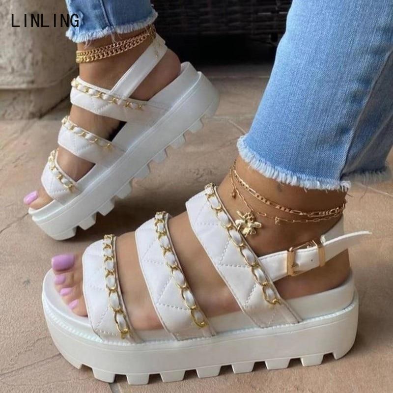 Gladiator Women Sandals 2021 Fashion Wedge Platform Luxery Sandalias Open Toe Buckle Strappy Summer