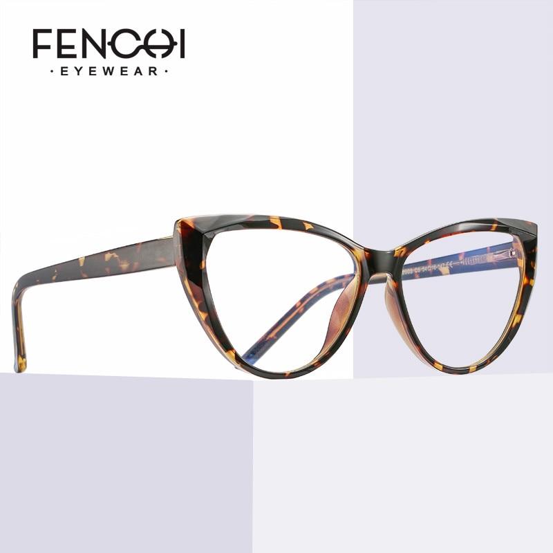 FENCHI TR90 Cat Eye Clear Computer Glasses Anti Blue Light Blocking Glasses Frame Filter Transparent Gaming Goggles Eyewear