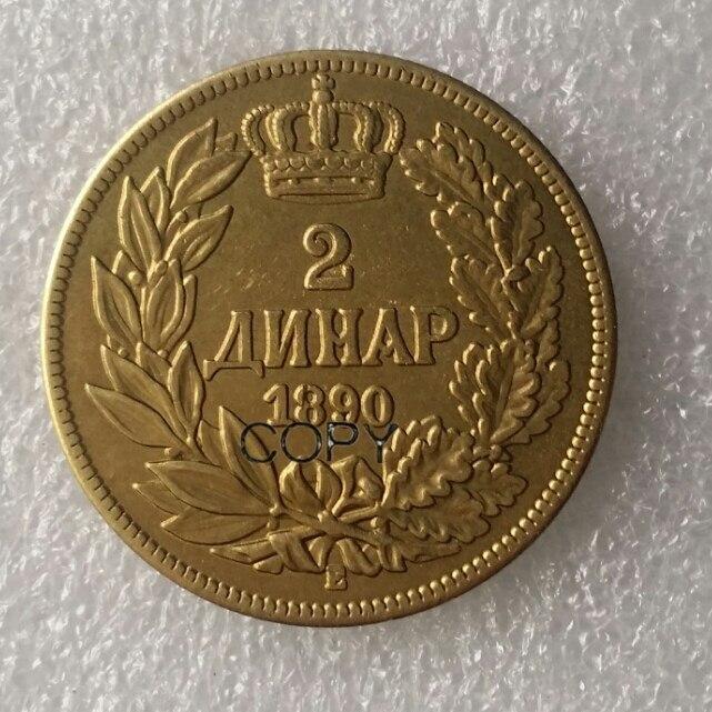 Moneda de copia de latón del Reino de Serbia Alexander I patrón Dinar 1890 Dinara