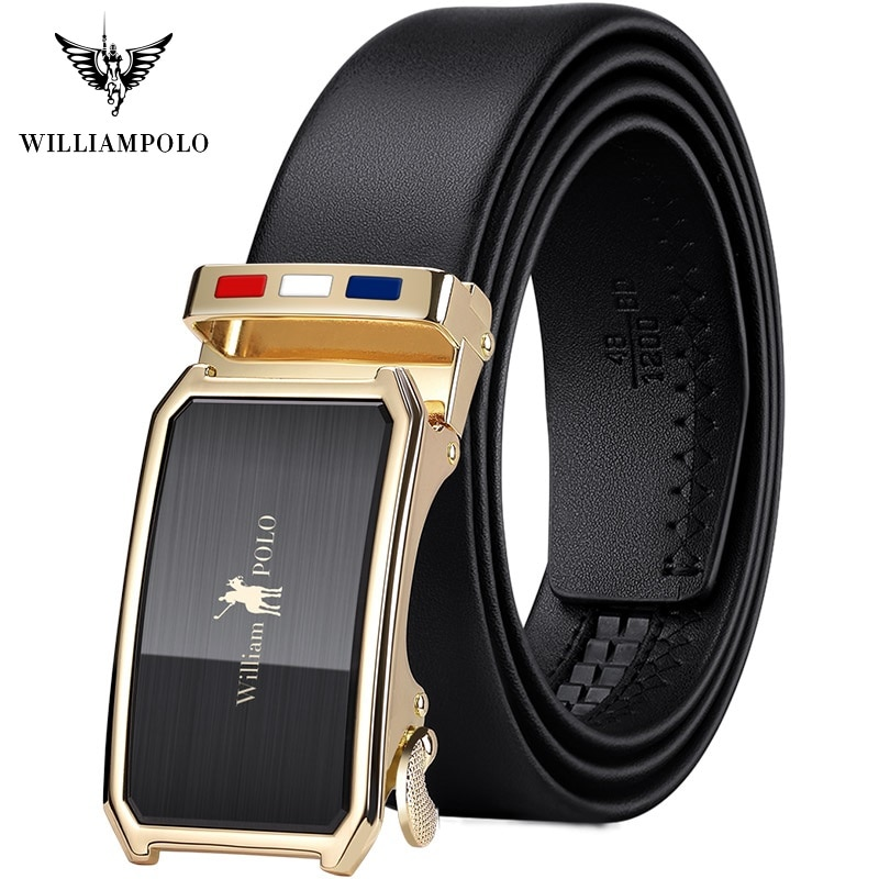 WilliamPolo Genuine leather Belt Men Top Quality Luxury high quality Leather Belts for Men Strap Male Metal Automatic Buckle no onepaul cowhide leather strap designer quality metal belts men high luxury jeans waistband men belts automatic buckle belt