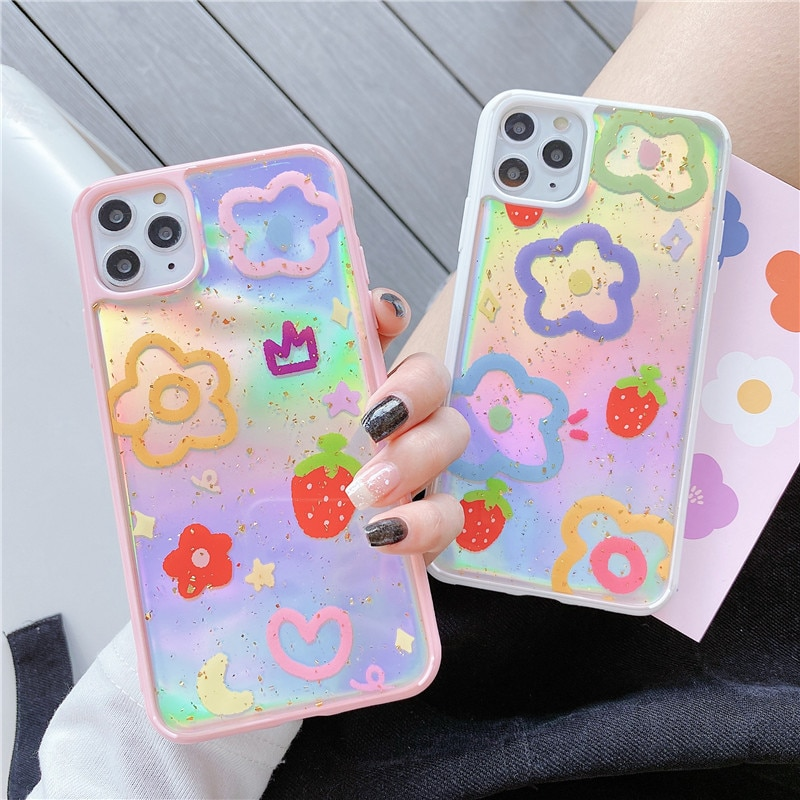 Nueva funda de teléfono a la moda láser flor fresa para iPhone 11Pro Max para iPhone X XR XS Max 7 8 Plus Cute Boba Bear cubierta de teléfono