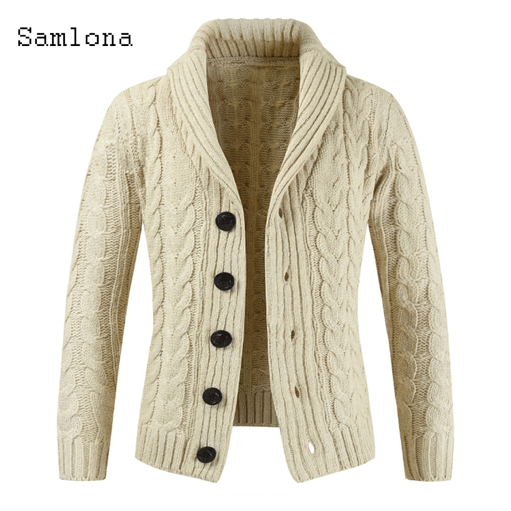 Fashion 2020 Autumn New Pleated Sweaters Men Single Breasted Lapel Collar Winter Warm Clothes Mens Knitted Sweater Cardigans