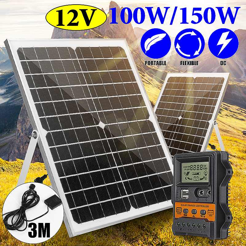 مجموعة الألواح الشمسية 150 واط ، 12 فولت ، USB ، مع وحدة تحكم شاحن شمسي 30 أمبير ، خلية شمسية أحادية البلورية ، للسيارة ، اليخوت ، RV