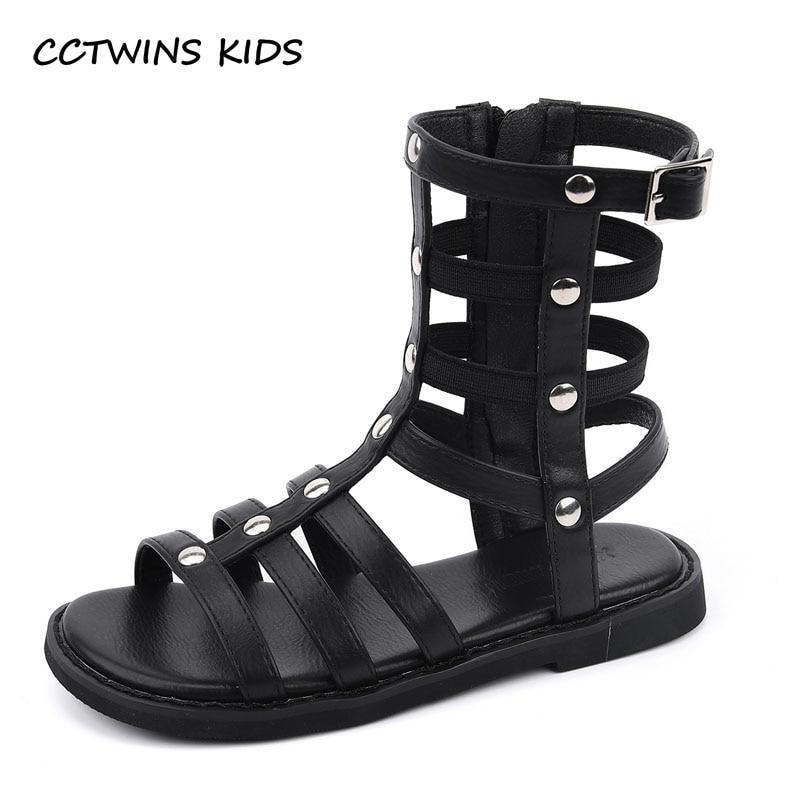 Kids Shoes 2021 Summer Girls Brand Beach Sandals Children Rome Gladiator High Top Flats Toddlers Fas