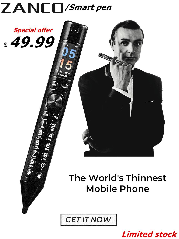 2pcs ZANCO Smart Pen World Thinnest Mobile Phone Portable New Pen Shape Mobile Phone Recording Pen gift with free BT earphone enlarge