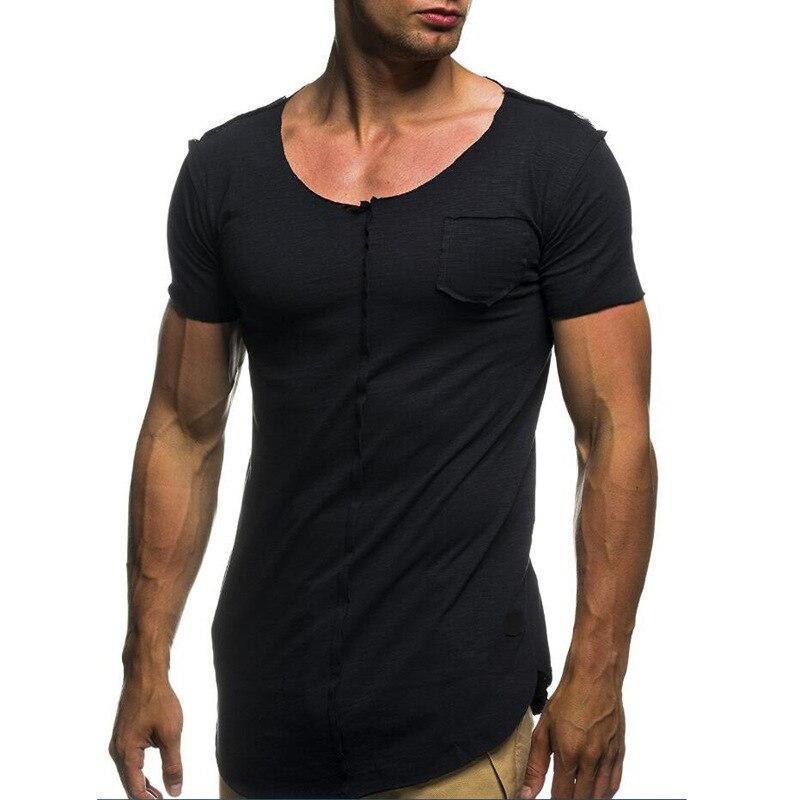 C1200-Summer nuevos hombres camisetas de color sólido slim tendencia pantalón corto casual de manga corta de moda