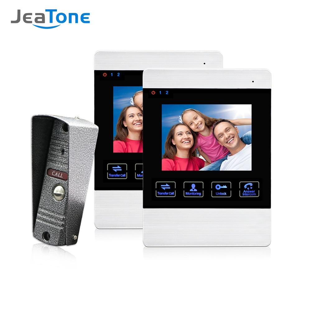 Jeatone 4 Inch Video Visual Door Phone Doorbell Camera Wire 1200TVL Monitor Door Alarm Entry Doorphone for Home System