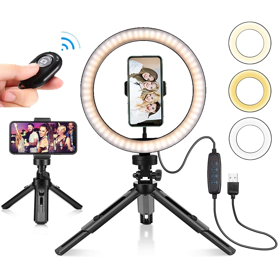Photo Remote Fill Lihgt 26CM Photography Lighting Phone Ringlight Tripod Stand Photo Led Selfie Ring Lamp Fill Youtube Live