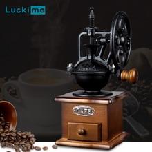 Classique Vintage en bois moulin à café grande roue Style céramique bavure conique moulin à café Antique maison café magasin décoration