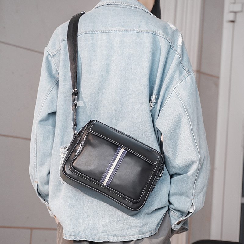 Tidog-حقيبة كتف جلدية بسيطة ، حقيبة كتف قطرية عصرية