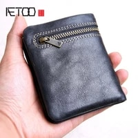 aetoo mini purse men and women handmade leather ultra thin soft leather wallet first layer leather wallet short zipper buckle