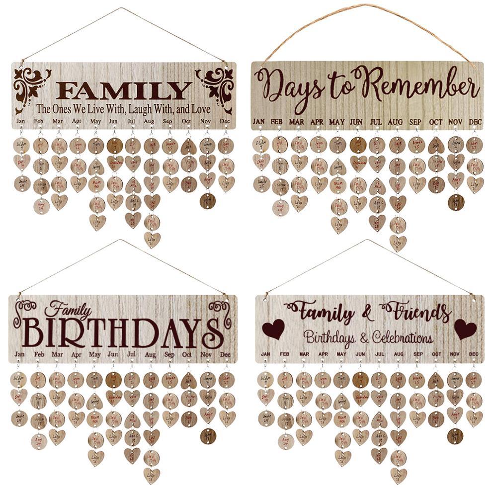 DIY Family Birthday Board Plaque Hanging Wooden calendar Wedding Anniversary Reminder Map Handmade Christmas Wood Decors Gift diy wooden faith family and friends birthday calendar