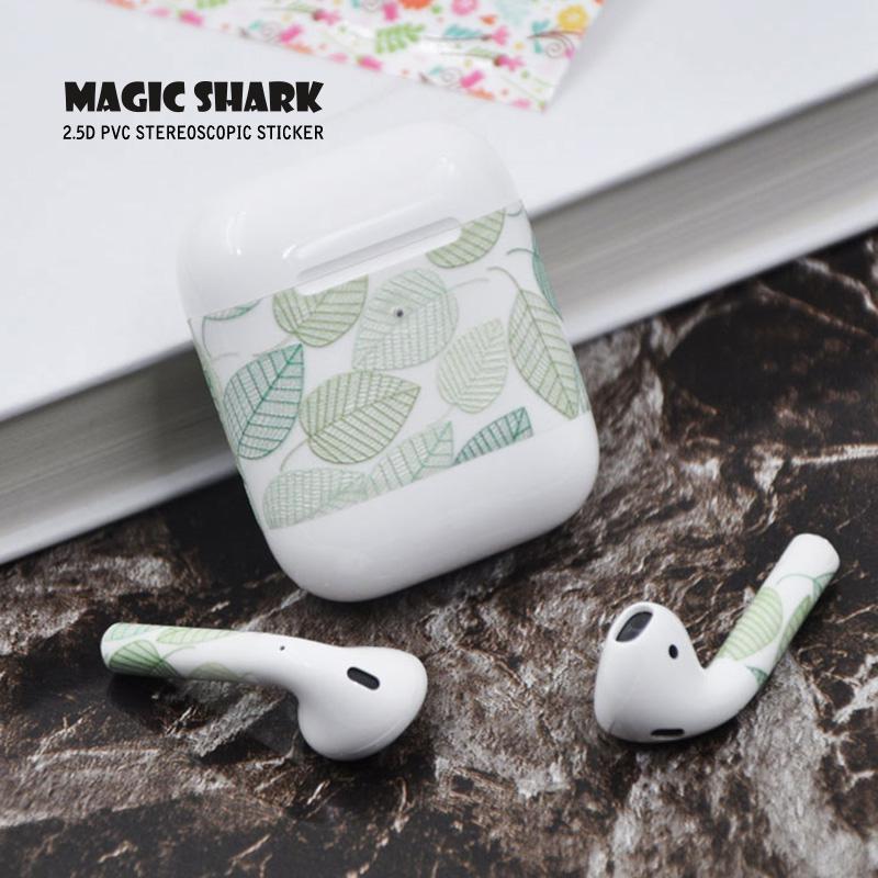 Magic Shark Smok Sky Leaf Flower Wood USA Flag Spongebob Stereo Clear Film Case Sticker Cover Skin for Airpods 2 II Earphone