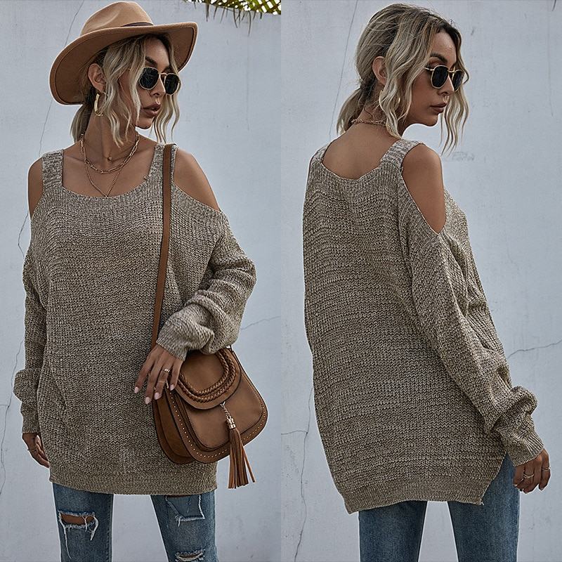 European And American Solid Knitted Casual Loose Shoulder Sweater Women Long Sleeves