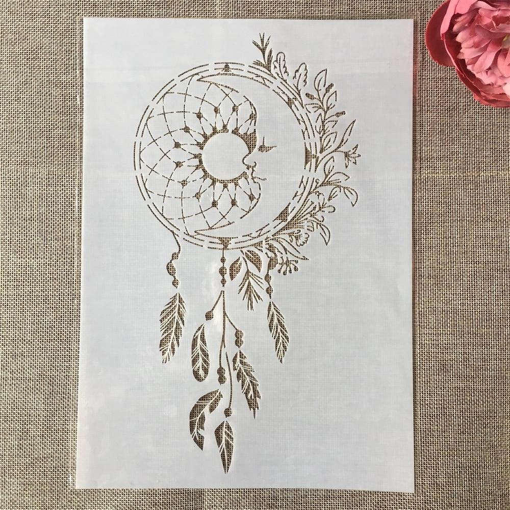 29*21cm Wheel Feather Tassel Leaves DIY Layering Stencils Painting Scrapbook Coloring Embossing Album Decorative Card Template