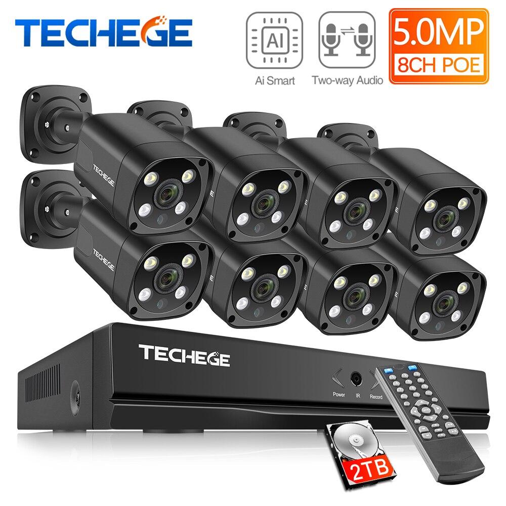 Techege h.265 8ch 5mp hd poe nvr kit cctv sistema de segurança áudio em dois sentidos ai ip câmera ao ar livre à prova dwaterproof água vídeo vigilância conjunto