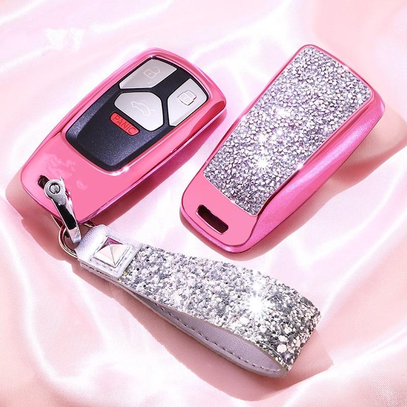 Funda de diamante para llave de coche para AUDI A4 B9 Q5 Q7 TT TTS 8S 2016 2017 llavero de cadena para niñas mujeres regalos cristal Artificial