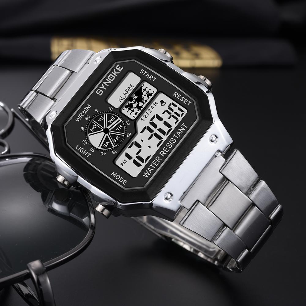 SYNOKE, 2019, reloj deportivo luminoso para hombre, reloj de pulsera multifunción resistente al agua para hombre, reloj Digital con alarma, reloj con temporizador