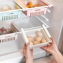 1 pçs novo multicolorido rack de armazenamento cozinha geladeira gaveta partição camada rack de armazenamento de plástico doméstico rack de armazenamento