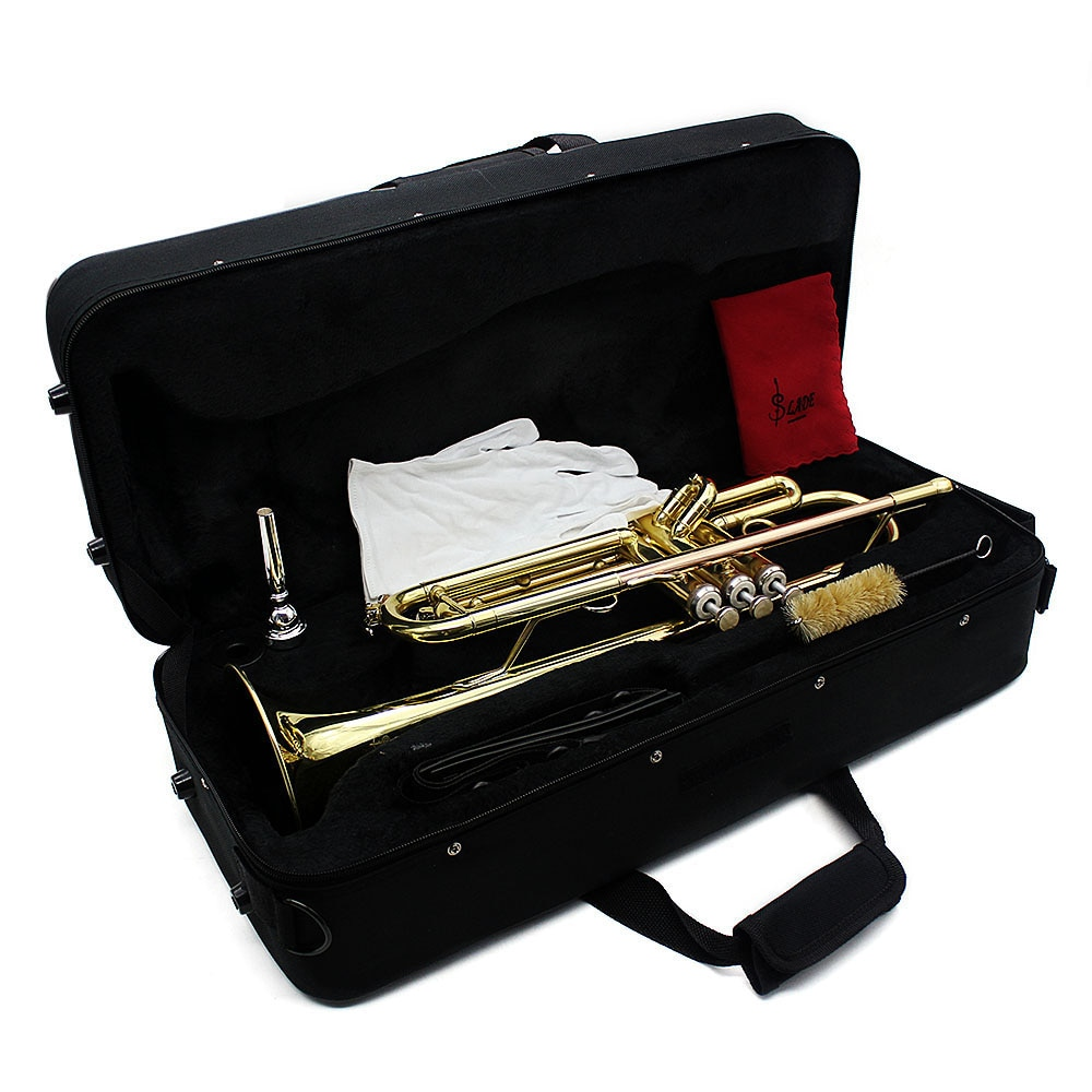 SLADE Professional Trumpet Bb B Flat Brass Instrument 2 Color Trompete With Case Strap Mouthpiece Musical Instrument Accessories enlarge