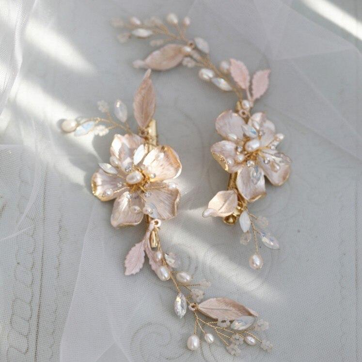 Handmade Flower Wedding Hair Piece Comb Freshwater Pearls Women Jewelry Bridal Headpiece Hair Ornament