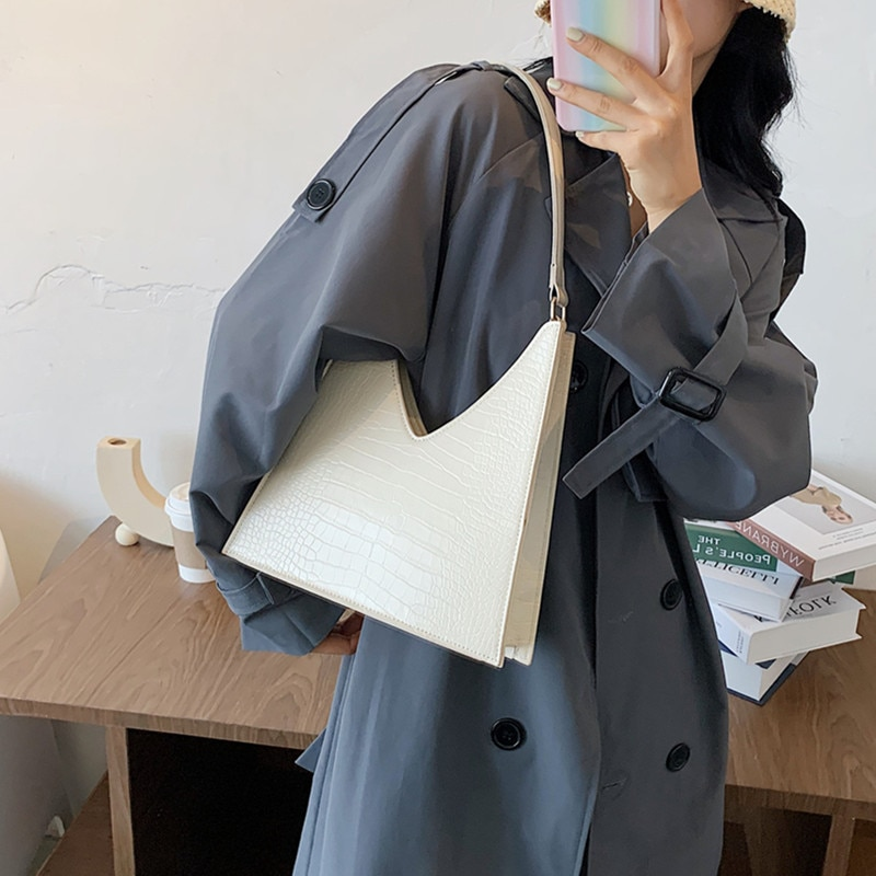 Bolso de hombro Burminsa elegante con diseño de piedras, para mujer, diseño único, piel sintética de alta calidad, Bolsos De Mujer 2020 blanco violeta