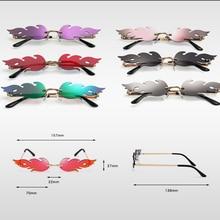 Women Rimless Wave Sun Glasses Luxury Fashion Metal Shades Vintage Women Mirror Eyewear UV400 2020 H
