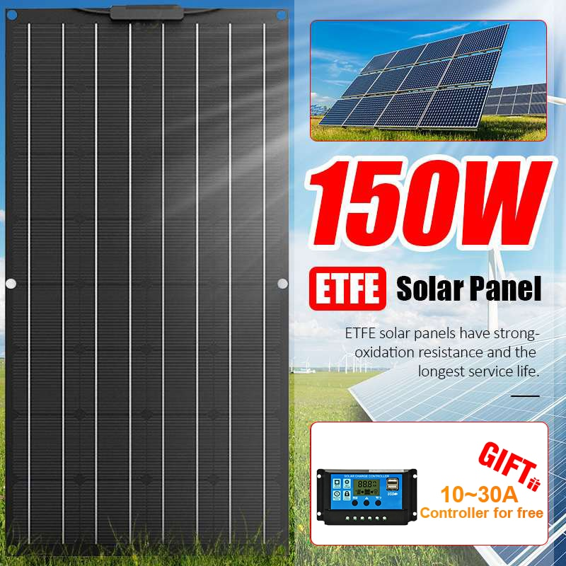 ETFE 150W Flexible Solar Panel Portable Solar Cell Energy Charger DIY Connector for Smartphone Charging Power System Car Camping