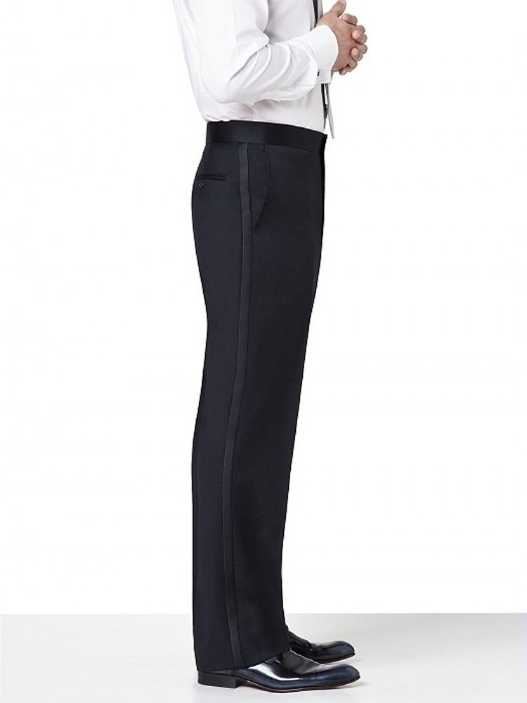 سروال أسود/أبيض مخصص سروال مستقيم مناسب للرجال/العريس/أفضل رجل زفاف/سهرة سروال أمامي عادي KZ13