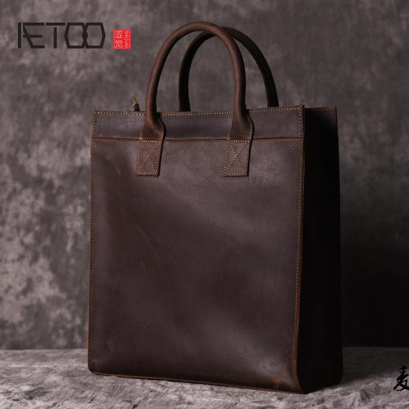 AETOO  Men s vertical handbag European and American shoulder Messenger bag business leather file package retro simple