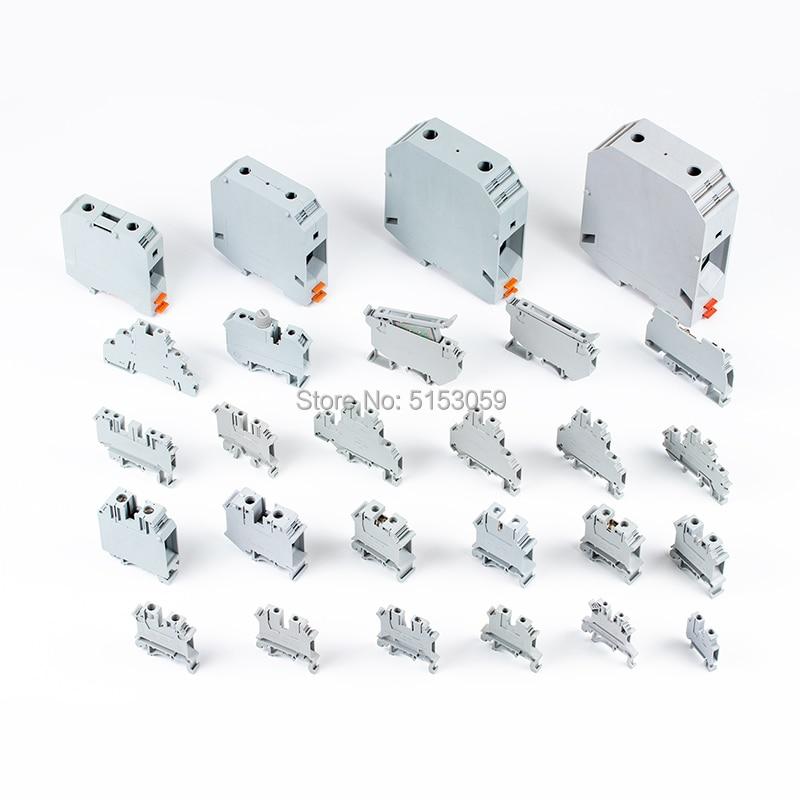 2 uds prueba los bloques terminales montados en carril DIN serie UK conector de tipo tornillo terminador de crimpado eléctrico