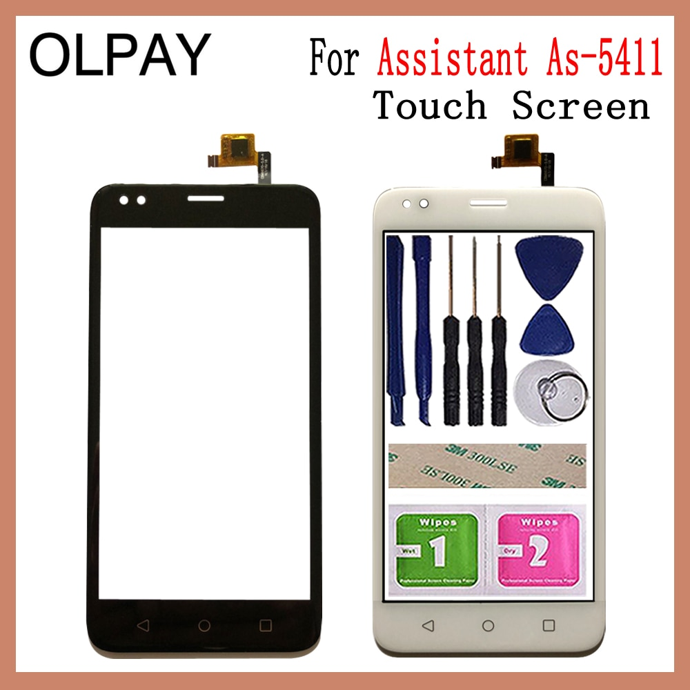 Mobile Phone 5.0'' inch Touch Screen Glass For Assistant As-5411 Touch Screen Digitizer Panel Front