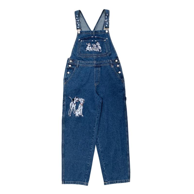 بنطلون جينز نسائي خريفي ، مريلة على طراز الكلية ، جمبسوت مطرز لطيف على شكل جرو ، وزرة فضفاضة ، بدلة رومبير كرتونية Harajuku