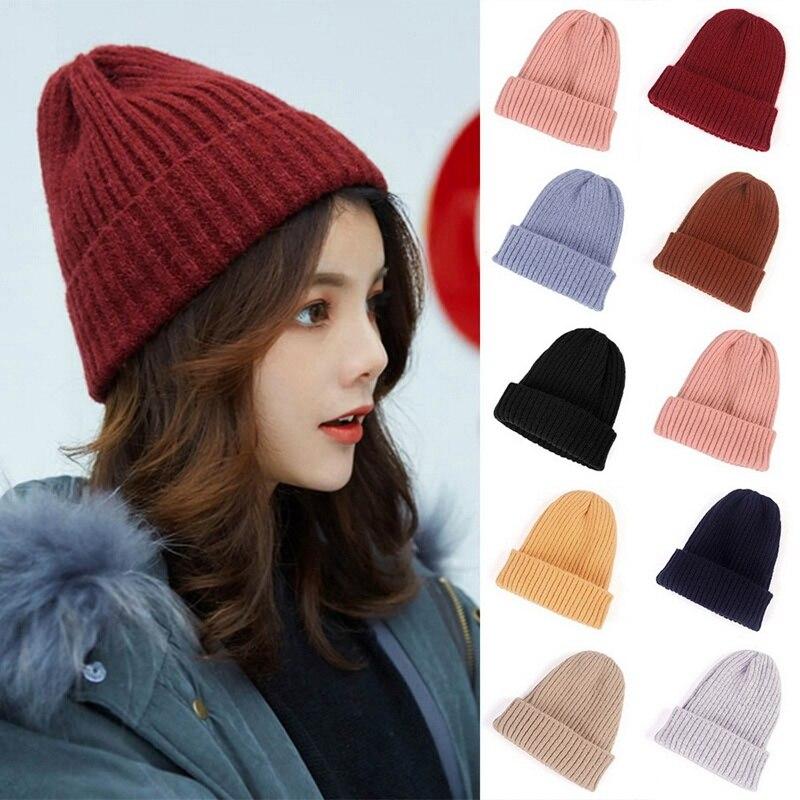 Зимняя женская Шапка-бини MoneRffi 2021, теплая Осенняя Женская Вязаная Шапка-бини, Шапка-бини с манжетами, часы, шапочки для девочек, шапка для жен...
