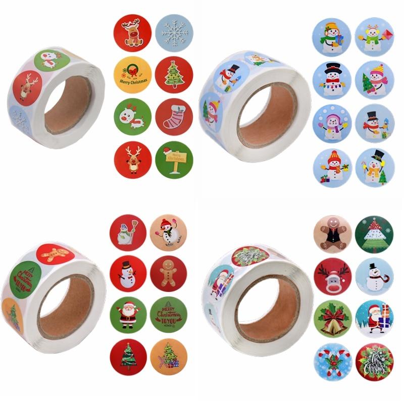 Etiquetas adhesivas de Feliz Navidad, con sello de agradecimiento para etiquetas de...