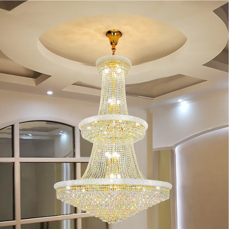 ثريا كريستال ذهبية اللون ، مصباح سقف حديث ، فاخر ، كبير ، بناء مزدوج ، فيلا ، فندق ، لوبي ، سلم ، ديكور