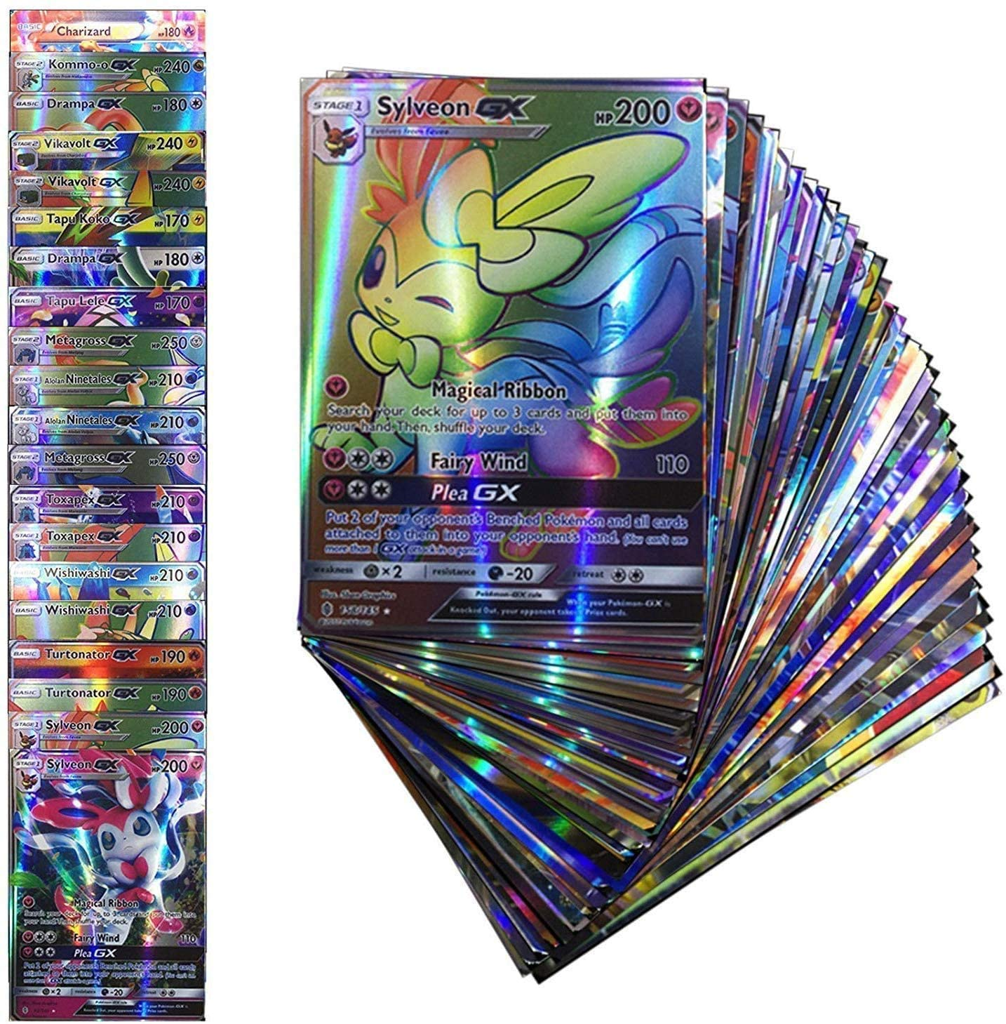 20 Pcs No Repeat Pokemons GX Card Shining TAKARA TOMY Cards Game TAG TEAM Battle Carte Trading Children Toy