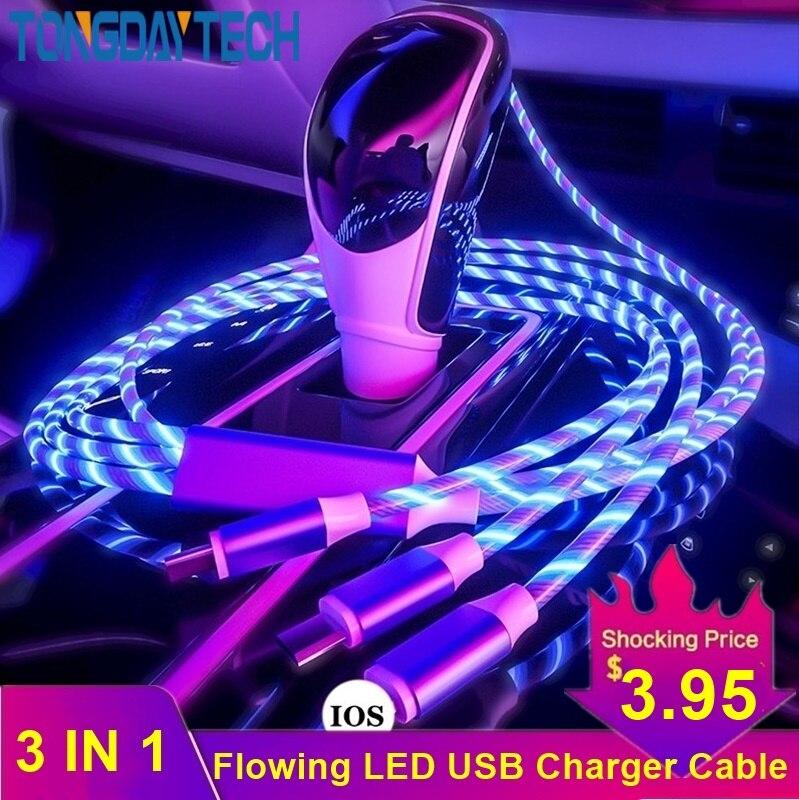 Tongdaytech 3 en 1 USB Cable de carga rápida que fluye colores LED resplandor Usb cargador portátil para iPhone Xiaomi Samsung Smartphone