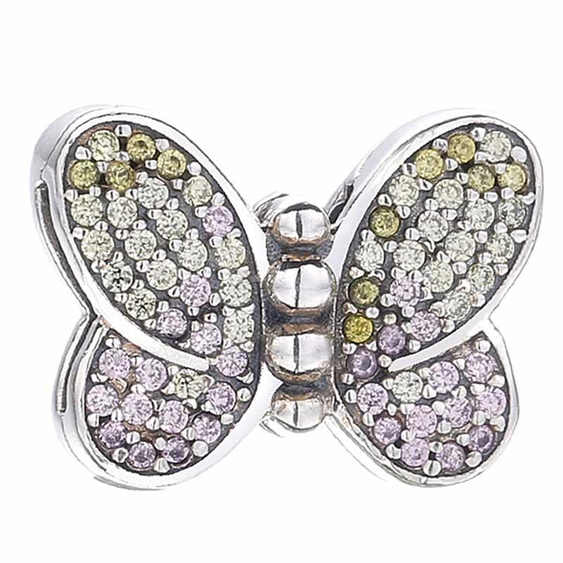 Nuevo cuenta en plata esterlina 925 Charm Reflexions bedeslumbrante mariposa tope de cuentas con clip ajuste Pandora pulsera brazalete joyería Diy