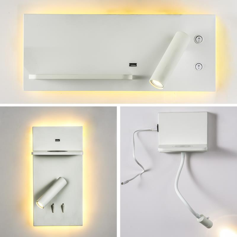 Zerouno Led Wall Lamp Wireless Charger Board Usb Port Charging Bedroom Reading Light Wall Light Surface Mounted Bed Night Lights Leather Bag