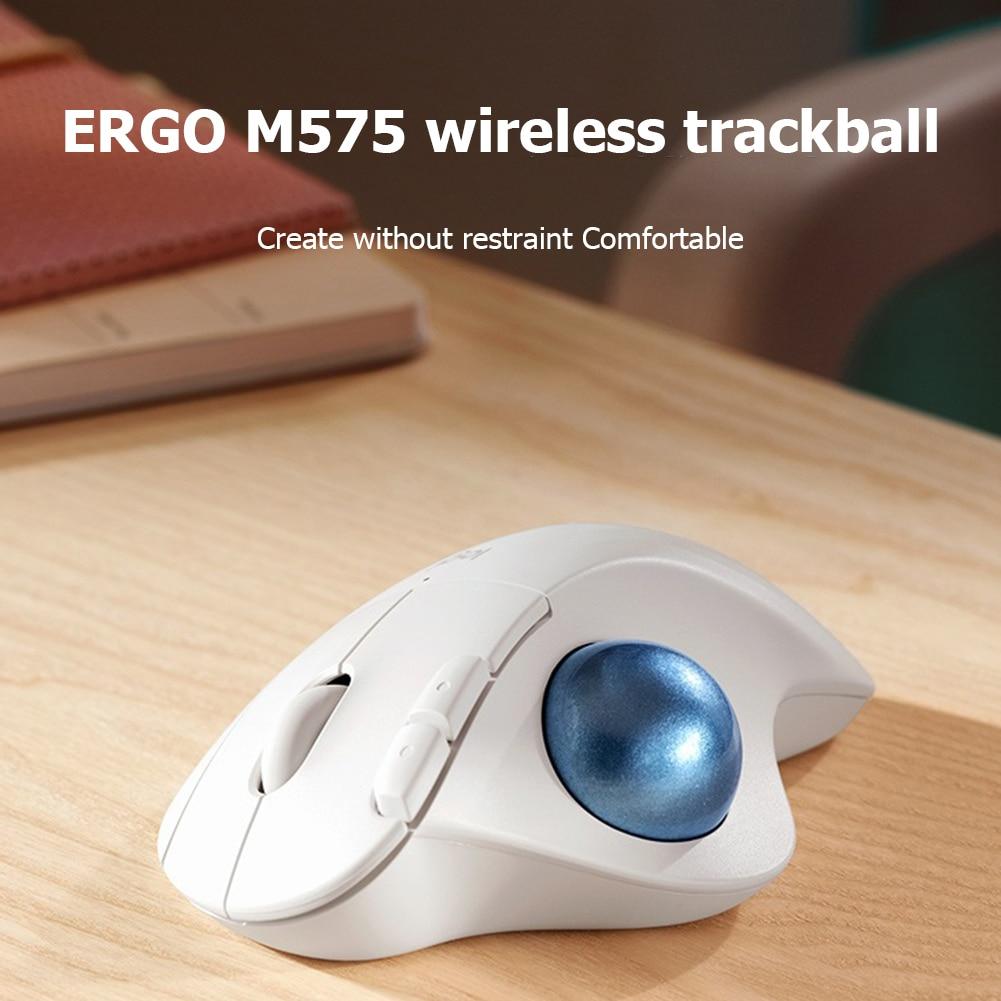 Ratos em Silêncio 2.4g sem Fio Logitech Ergo Trackball Mouse Ergonômico Escritório Desenho Ratos Computador Portátil M575