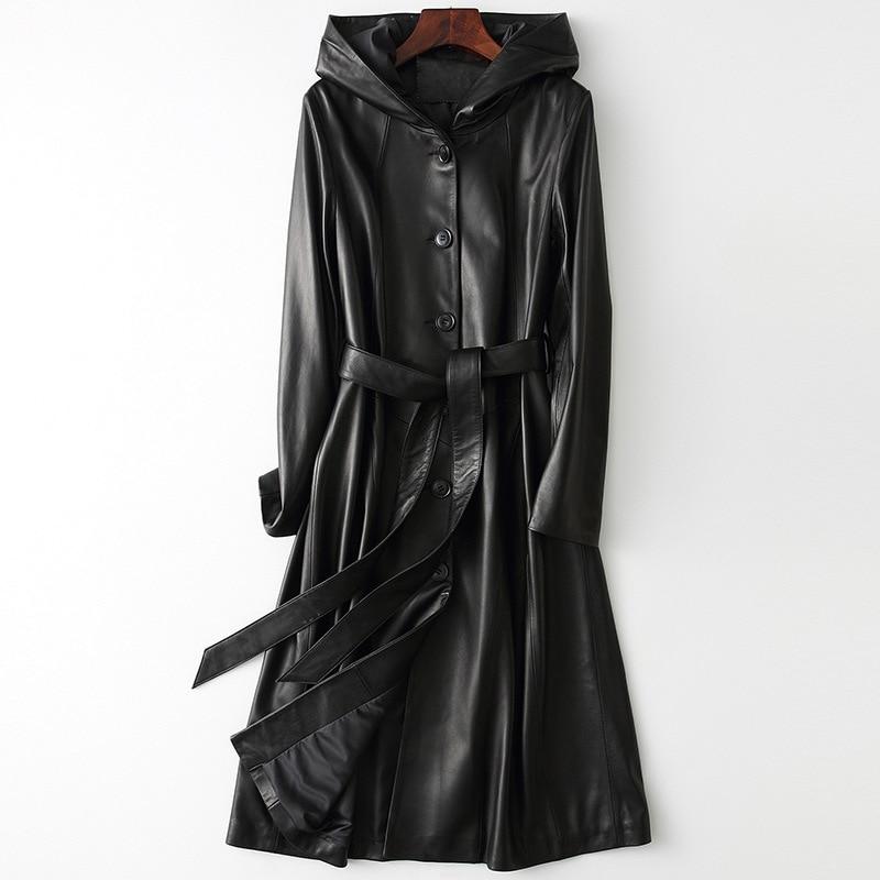 Spring Black Long Sheepskin Leather Coat for Women Simple Hooded Slim Real Fur Jackets Formal Oversize Female Winter Streetwear